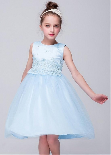 Angelic Light Blue Jewel Neckline A-line Flower Girl Dresses With Belt