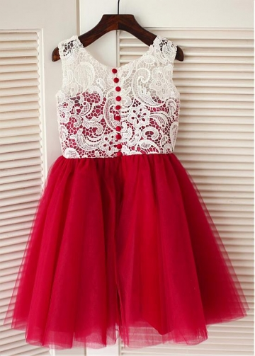 Sweet Lace & Tulle Scoop Neckline A-line Flower Girl Dresses