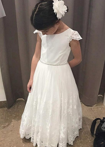 Exquisite Tulle & Satin Jewel Neckline A-line Flower Girl Dresses With Lace Appliques & Beadings