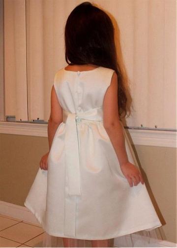 Pretty Satin & Tulle Jewel Neckline A-line Flower Girl Dresses With Belt