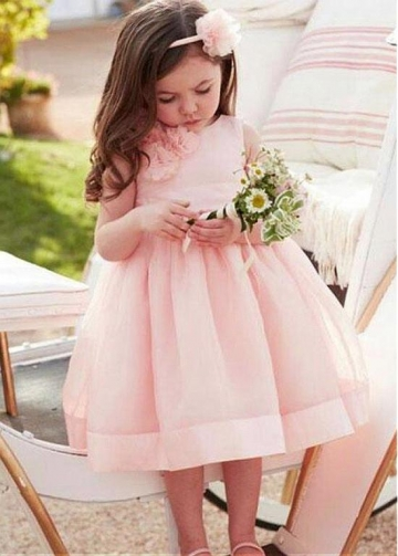 Pretty Organza Jewel Neckline A-line Flower Girl Dresses With Handmade Flowers & Belt