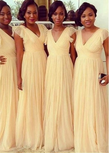 Wonderful Tulle V-neck Neckline A-line Bridesmaid Dresses