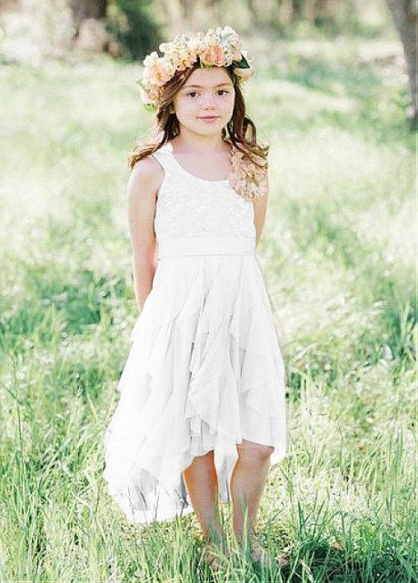 Fabulous Tulle & Lace Scoop Neckline A-line Flower Girl Dresses With Belt