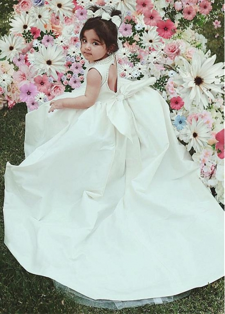 Fashionable Satin Jewel Neckline Ball Gown Flower Girl Dress With Beadings & Bowknot