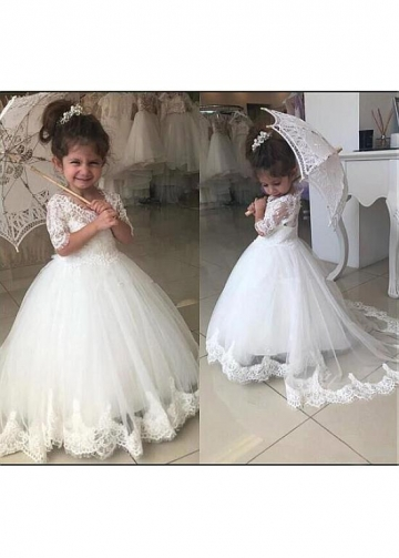 Romantic Tulle V-neck Neckline Ball Gown Flower Girl Dress With Beadings & Lace Appliques