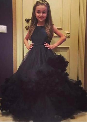 Gorgeous Tulle & Satin Jewel Neckline A-line Flower Girl Dress With Belt