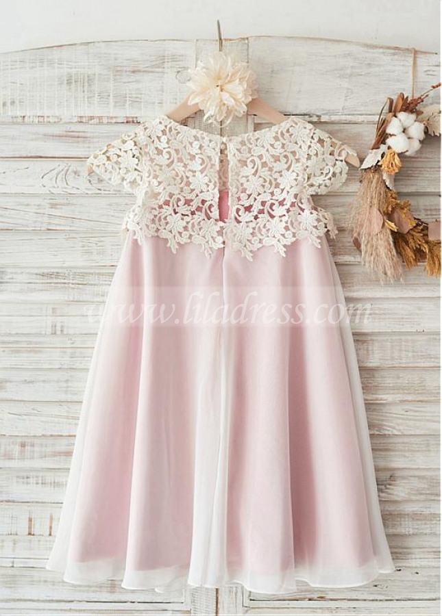 Gorgeous Lace & Chiffon Jewel Neckline Cap Sleeves Knee-length A-line Flower Girl Dresses
