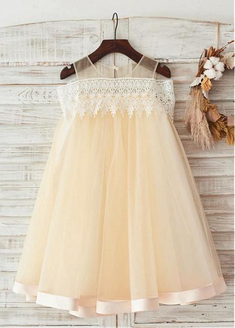 Unique Lace & Tulle Scoop Neckline Knee-length A-line Flower Girl Dresses