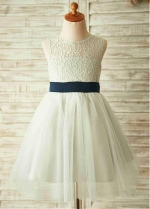 Fashionable Tulle & Lace Jewel Neckline Cut-out A-line Flower Girl Dresses With Bowknot