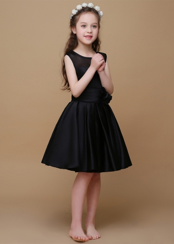 Charming Organza & Satin Scoop Neckline A-Line Flower Girl Dresses With Pleats