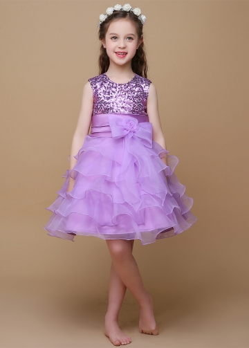 Sparkling Sequin Lace & Satin Jewel Neckline Ball Gown Flower Girl Dresses With Bow
