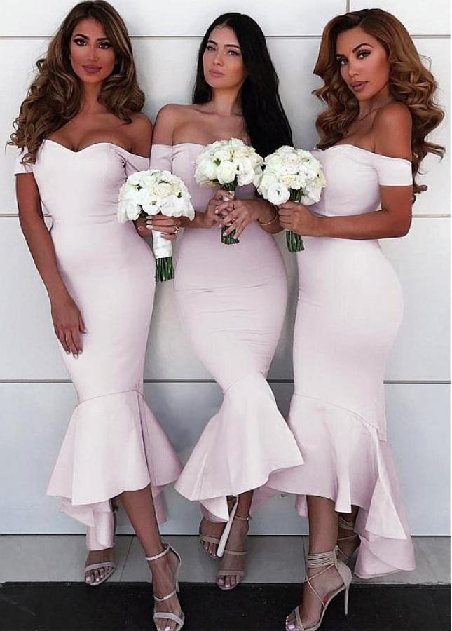 Wonderful Spandex Off-the-shoulder Neckline Hi-lo Mermaid Bridesmaid Dresses