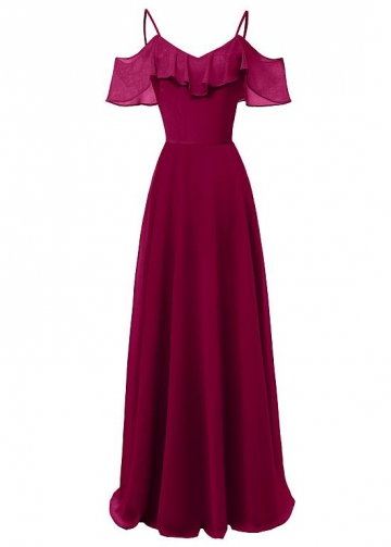 Fabulous Chiffon Spaghetti Straps Neckline A-line Bridesmaid Dress