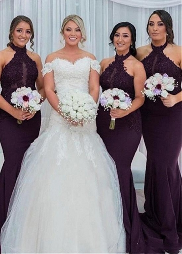 Fabulous Tulle & Satin Halter Neckline Mermaid Bridesmaid Dresses With Beaded Lace Appliques