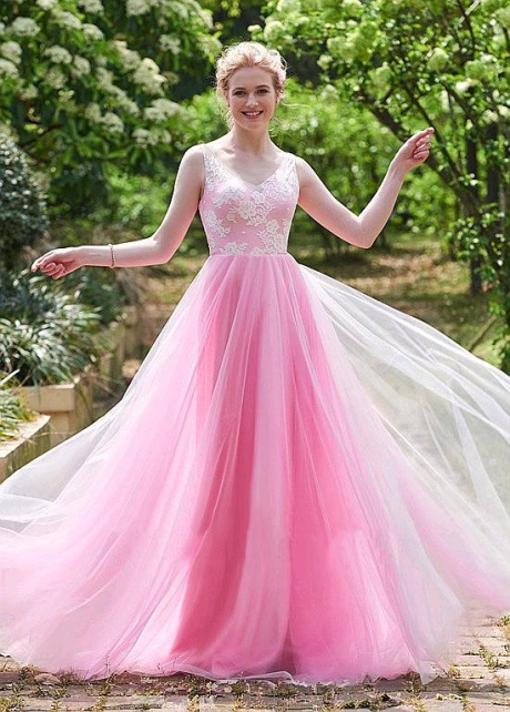 Exquisite Lace & Tulle V-neck Neckline Floor-length A-line Bridesmaid Dresses