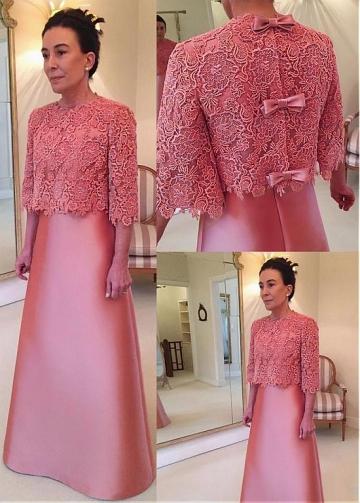 Modest Satin & Lace Jewel Neckline A-line Mother Of The Bride Dress With Detachable Coat