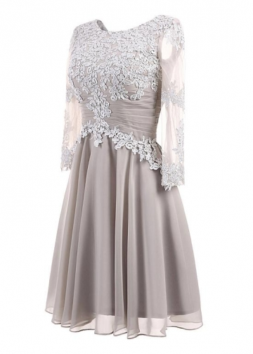 Gorgeous Tulle & Chiffon Scoop Neckline 3/4 Length Sleeves A-line Mother Of The Bride Dresses With Lace Appliques