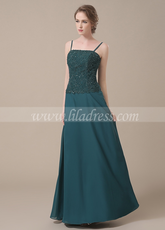 Stunning Lace & Chiffon Spaghetti Straps Neckline A-line Mother of The Bride Dresses