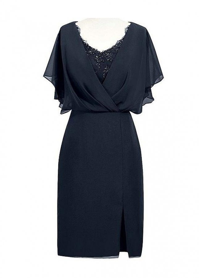 Gorgeous Chiffon V-neck Neckline Sheath/Column Mother Of The Bride Dresses With Beaded Lace Appliques