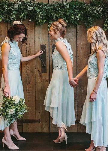 Fascinating Lace & Chiffon High Collar Hi-lo A-line Bridesmaid Dress