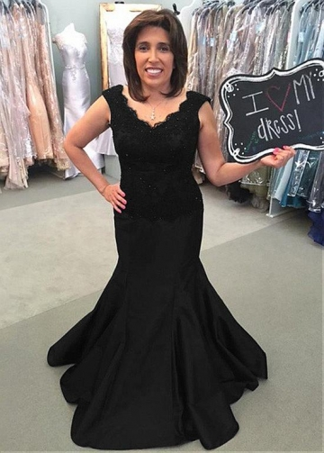Attractive Tulle & Satin V-neck Neckline Mermaid Mother Of The Bride Dress With Beaded Lace Appliques