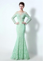 Fabulous Tulle & Lace Illusion Scoop Neckline Mermaid Evening / Mother Of The Bride Dresses With Beadings