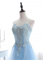 Eye-catching Tulle Sweetheart Neckline A-line Prom Dresses With Lace Appliques & Beadings