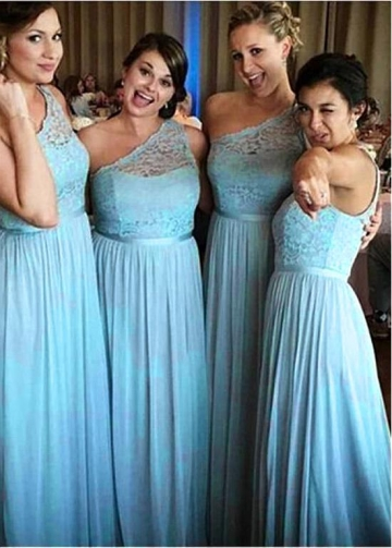 Fashionable Lace & Chiffon One Shoulder Neckline Full-length A-line Bridesmaid Dress With Belt