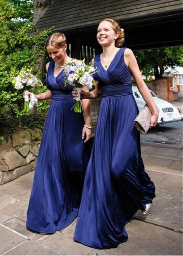 Graceful Chiffon V-neck Neckline Full-length A-line Bridesmaid Dress With Pleats