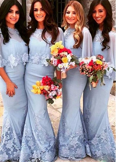Marvelous Skyblue Mermaid Bridesmaid Dresses With Lace Appliques