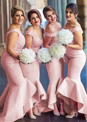 Outstanding Lace & Satin Off-the-shoulder Neckline Hi-lo Mermaid Pink Bridesmaid Dresses
