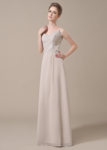 Stunning Chiffon Spaghetti Straps Neckline Full-length A-line Bridesmaid Dresses
