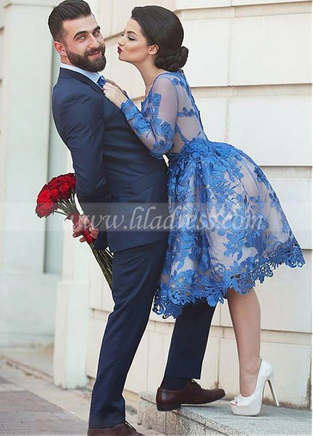 Amazing Tulle Jewel Neckline A-line Homecoming Dresses With Sleeves