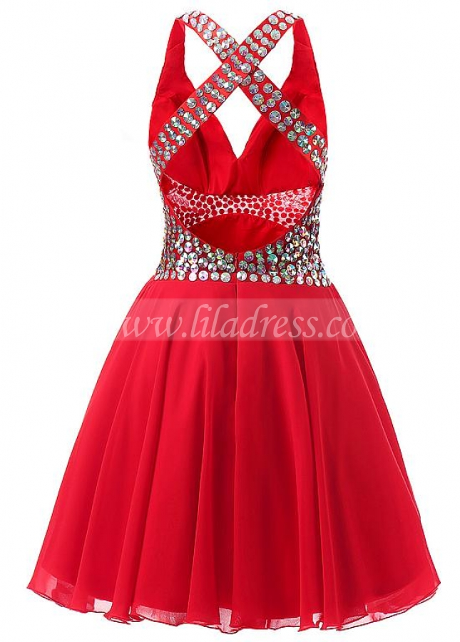 Fashionable Chiffon V-Neck A-Line Short Homecoming Dresses With Rhinestones