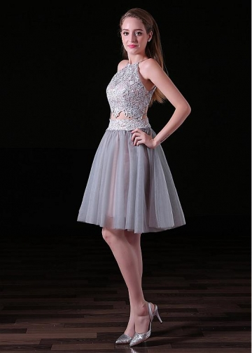 Sexy Tulle & Lace Halter Neckline Short Length Two-piece A-line Cocktail Dress
