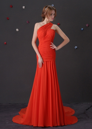 Elegant Chiffon One Shoulder Neckline Mermaid Prom Dresses