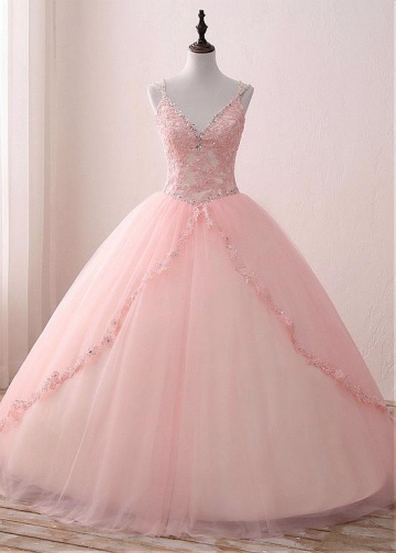 Luxury Tulle & Satin Spaghetti Straps Neckline Floor-length Ball Gown Quinceanera Dresses With Beadings & Lace Appliques