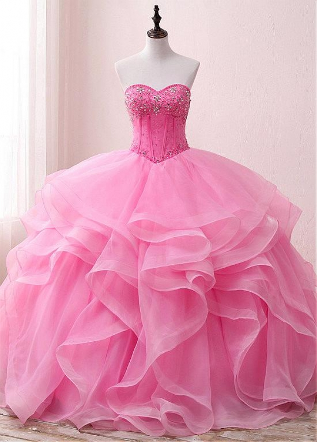 Modest Organza & Satin Sweetheart Neckline Floor-length Ball Gown Quinceanera Dresses With Beadings