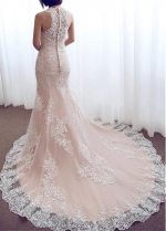 Charming Tulle Jewel Neckline Mermaid Wedding Dress With Lace Appliques
