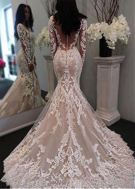 Fabulous Tulle Scoop Neckline Mermaid Wedding Dress With Lace Appliques