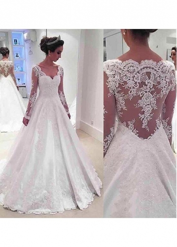 Elegant Tulle & Satin V-neck Neckline A-Line Wedding Dresses With Lace Appliques & Beadings