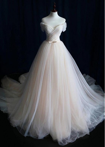 Alluring Tulle Off-the-shoulder Neckline A-line Wedding Dress With Belt
