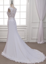 Glamorous Tulle & Acetate Satin Scoop Neckline Mermaid Wedding Dress With Lace Appliques