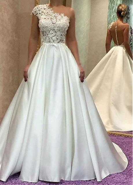 Elegant Tulle & Satin Jewel Neckline A-line Wedding Dress With Lace Appliques & Beadings