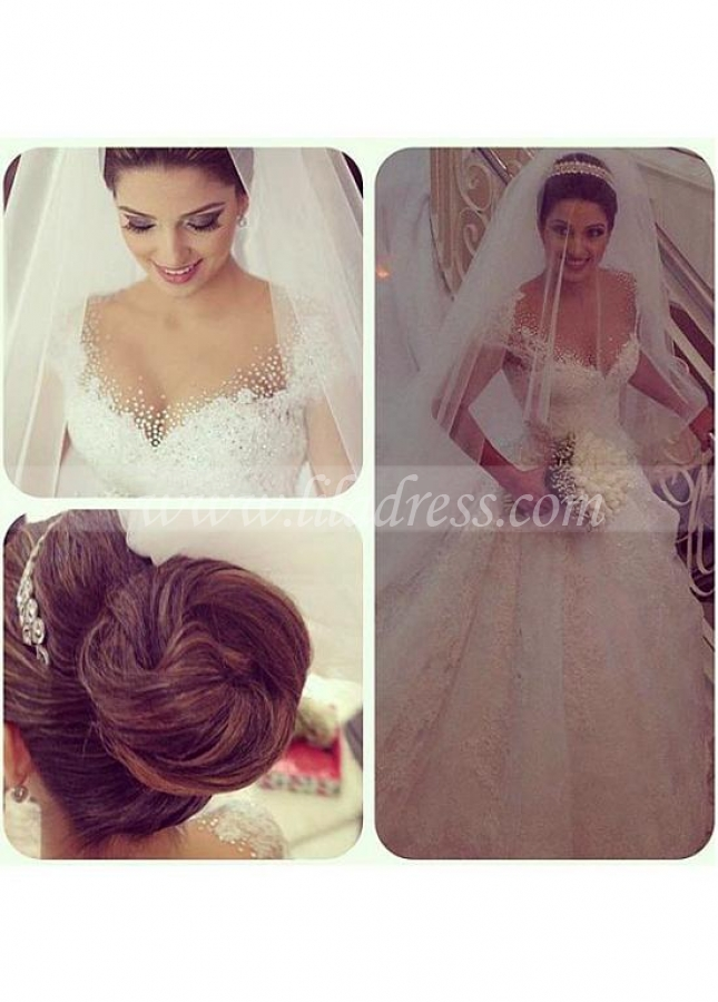 Attractive Tulle Jewel Neckline A-line Wedding Dresses With Beaded Lace Appliques