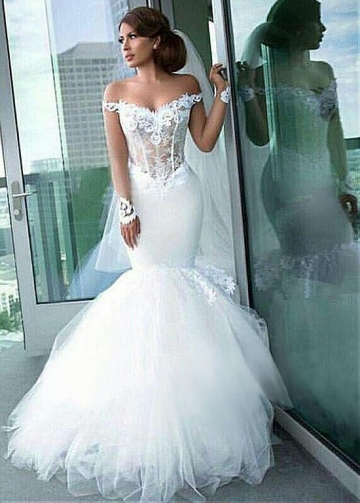 Alluring Tulle Off-the-shoulder Neckline See-through Mermaid Wedding Dress With Lace Appliques