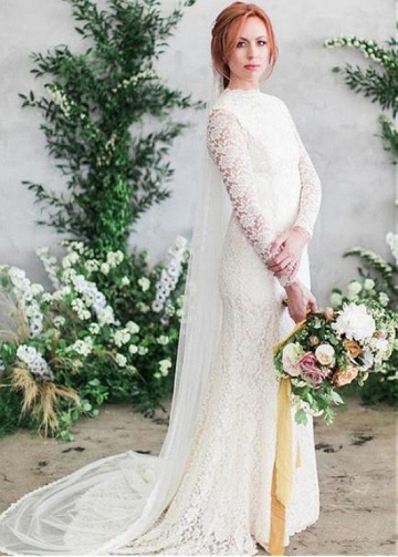 Delicate Lace High Collar Full Length Mermaid Wedding Dress