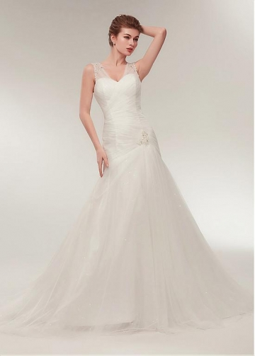 Tulle V-neck Neckline Dropped Waistline A-line Wedding Dress With Beadings