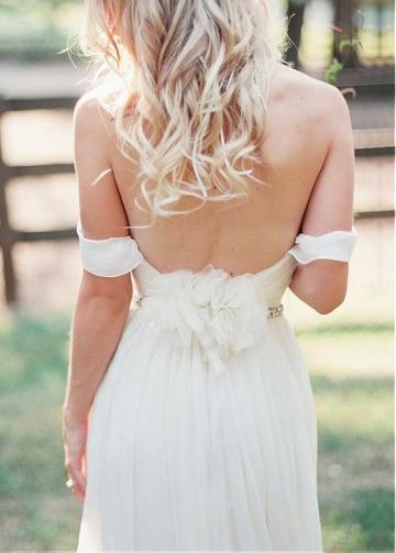 Elegant Chiffon Off-the-shoulder Neckline Sheath Outdoor Wedding Dress
