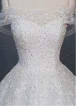 Attractive Tulle Off-the-shoulder Neckline A-Line Wedding Dress With Beaded Lace Appliques